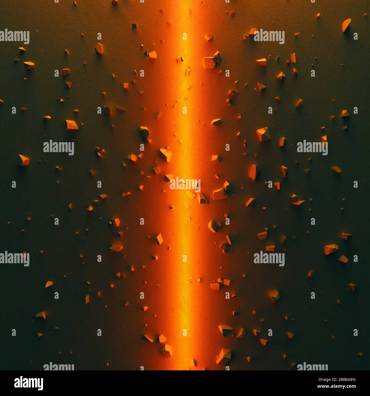 Epic cinematic background. Concrete ground divided into two parts by bright orange light. Debris scattered around. 3D illustration Stock Photo