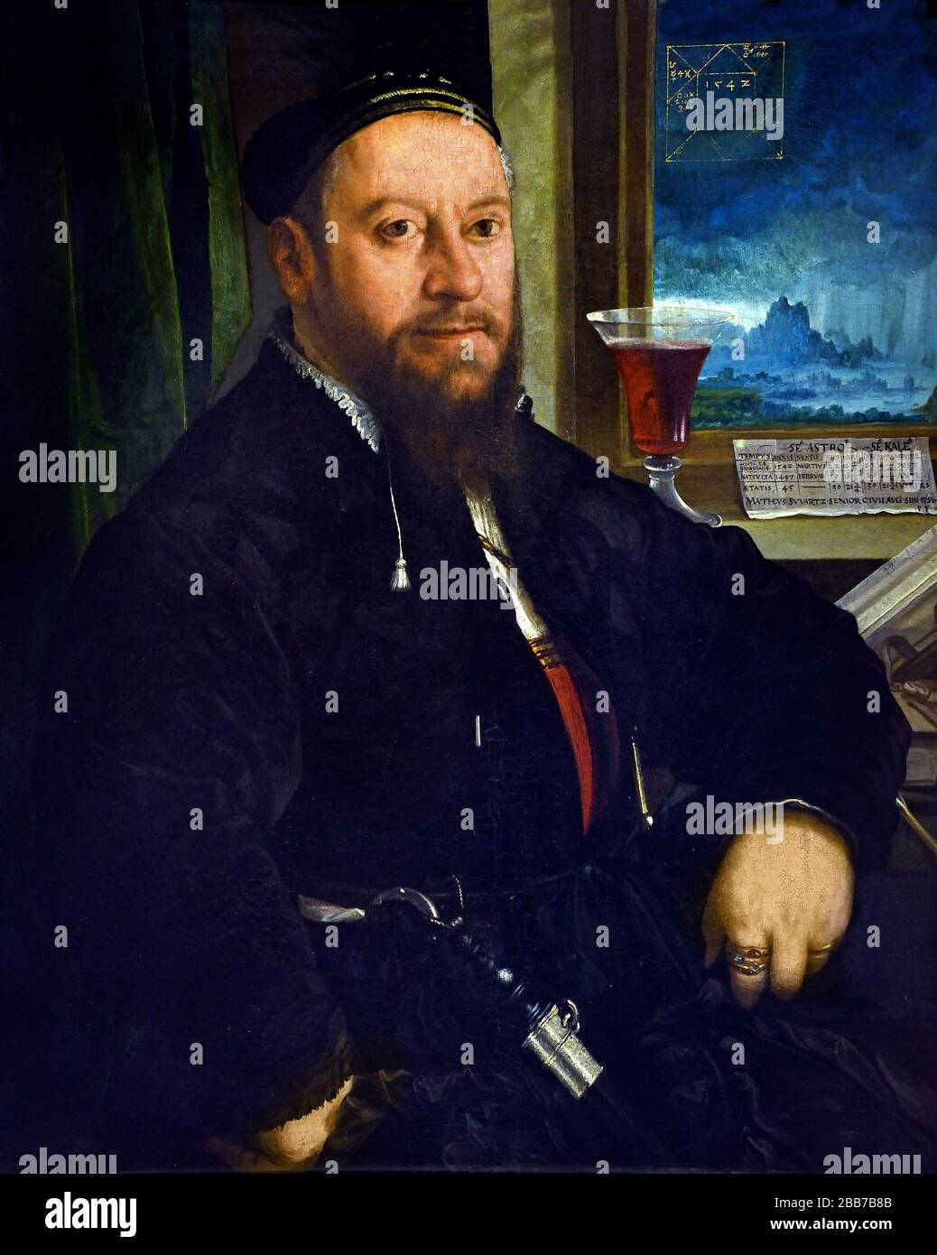 Portrait Matthaus Schwarz 1542 Christoph Amberger, 1505-1561, German, Germany. Stock Photo