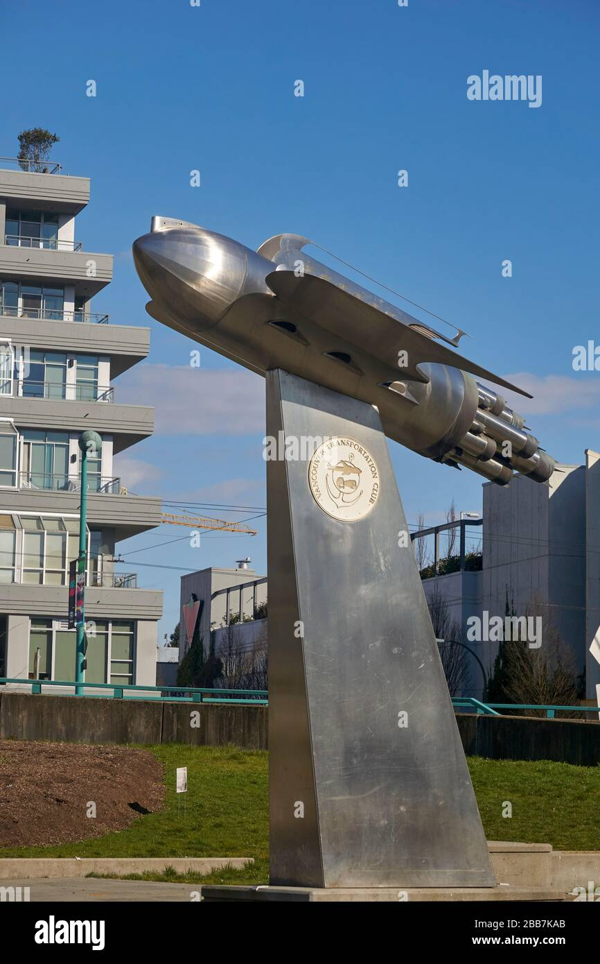 The Centennial Rocket Ship stainless steel and bronze sculpture in Vancouver, BC, Canada Stock Photo