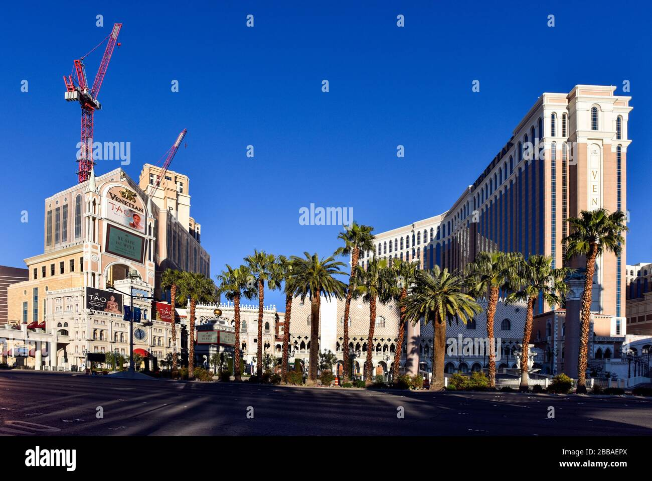 One week into the Las Vegas shut down due to Coronavirus, the Strip is fairly empty. No people on the streets and everything is closed. Stock Photo