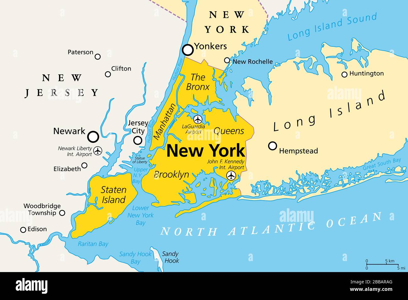 New York City Political Map Most Populous City In United States Located In The State Of New York Manhattan Bronx Queens Brooklyn Staten Island Stock Photo Alamy