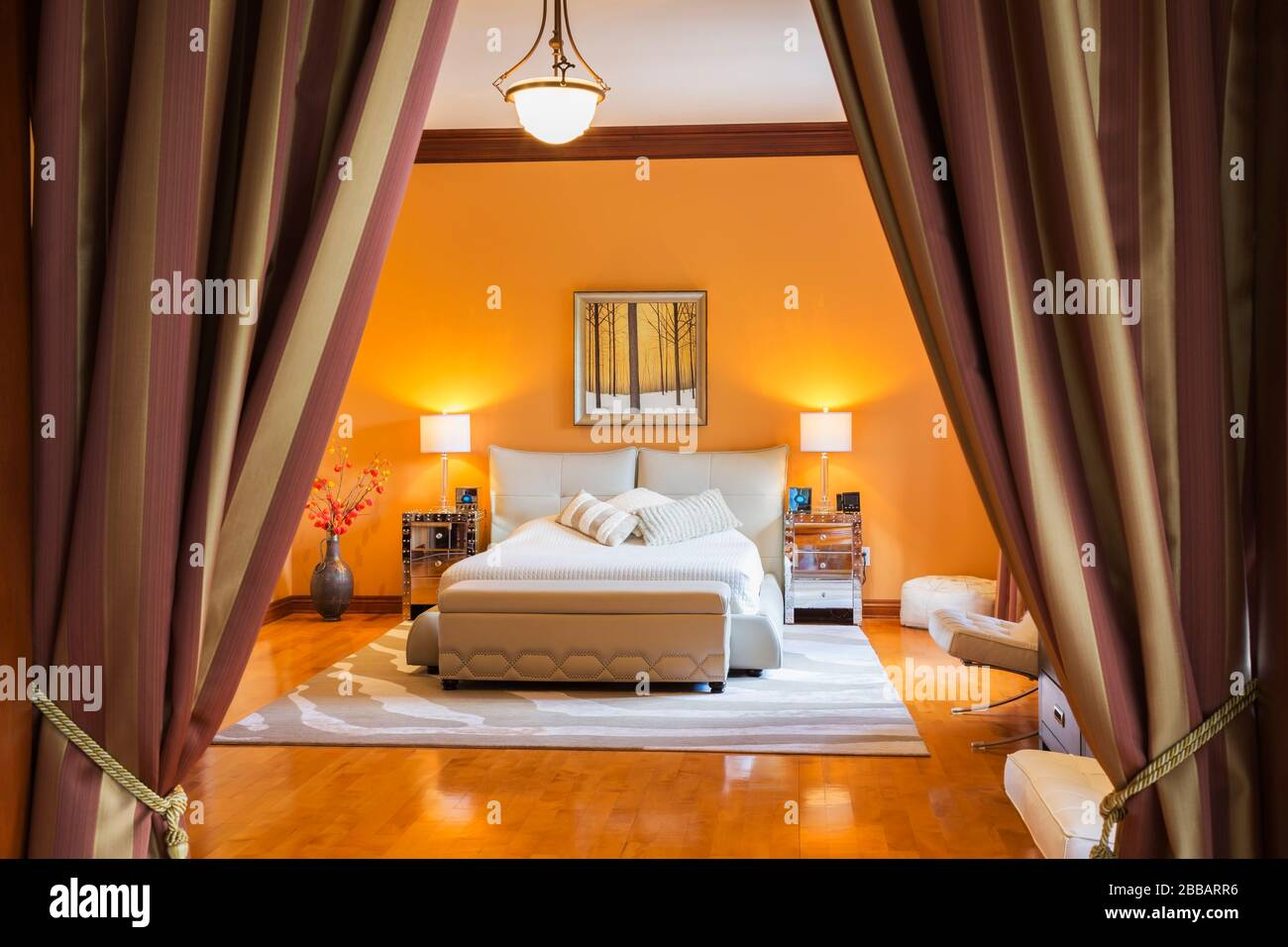 Queen Size Bed With Grey Leather Upholstered Base And Headboard In Upstairs Master Bedroom Inside A Luxurious Residential Home Quebec Canada This Image Is Property Released Cupr0341 Stock Photo Alamy