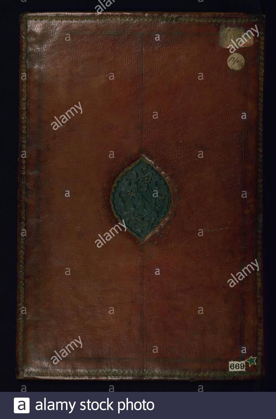 """""""Album of Indian Miniatures and Persian Calligraphy; English: Walters manuscript W.669 is an album (muraqqa') compiled in the late 13th century AH/AD 19th, or possibly later. It contains 19 Deccani paintings and 4 pages of hikastah calligraphy (fols. 3b, 7b, 8a, and 9b), one of which is dated 1211 AH/AD 1796 (fol. 3b). The paintings, which date to the late 12th century AH/AD 18th or 13th century AH/AD 19th, come from a ragmala series attributable to the Deccan. A ragmala is a visualization of a musical mode or melody. This album contains a mix of visualizations of ragas (male musical modes) an Stock Photo"""