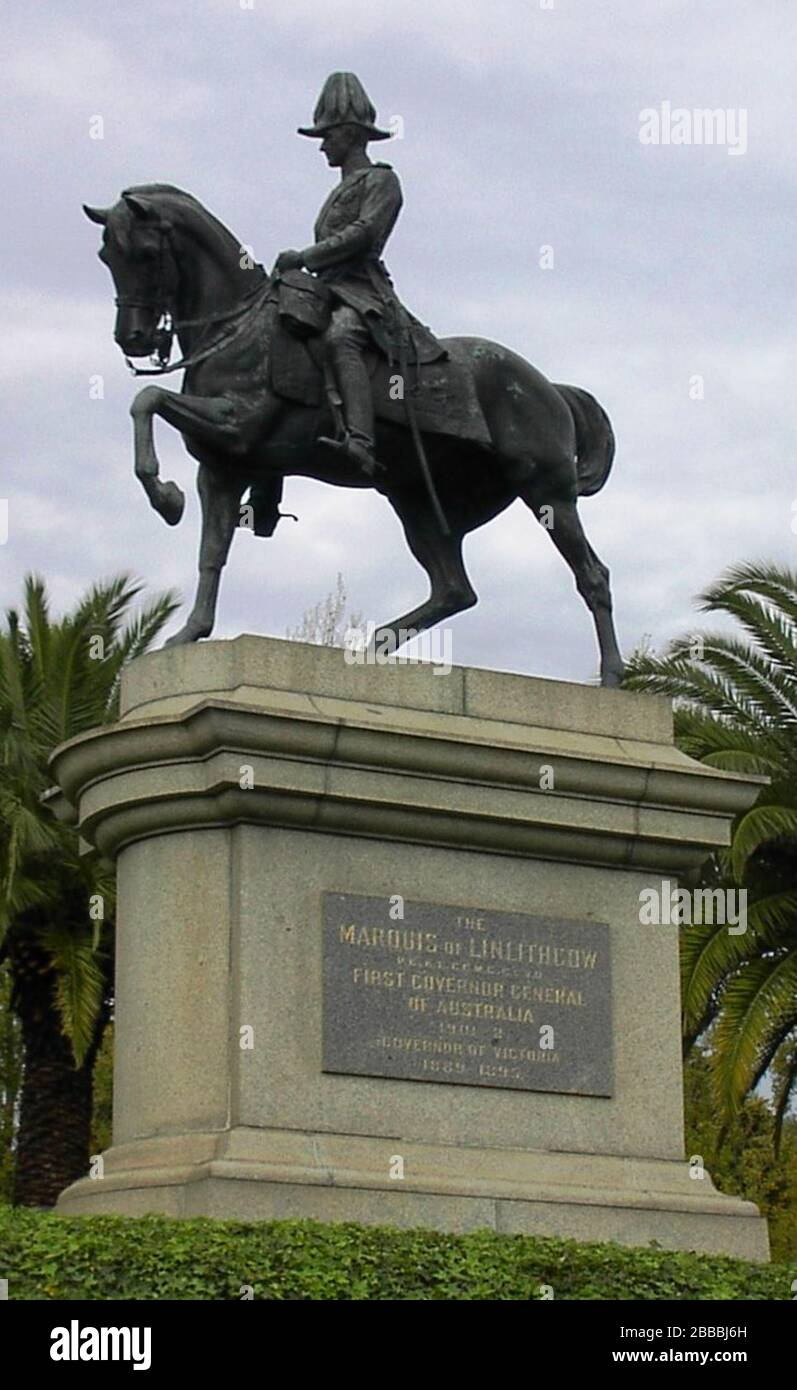 """""""English: Statue of John Hope, 1st Marquess of Linlithgow (Lord Linlithgow, Marquess Linlithgow) in Kings Domain, Melbourne.; Photo: March 31, 2006 (original upload date)Statue:created 1908,[1] unveiled June 15, 1911.[2]; Own photo by User:Adam Carr; transferred from the English Wikipedia; User:Adam Carr; """" Stock Photo"""