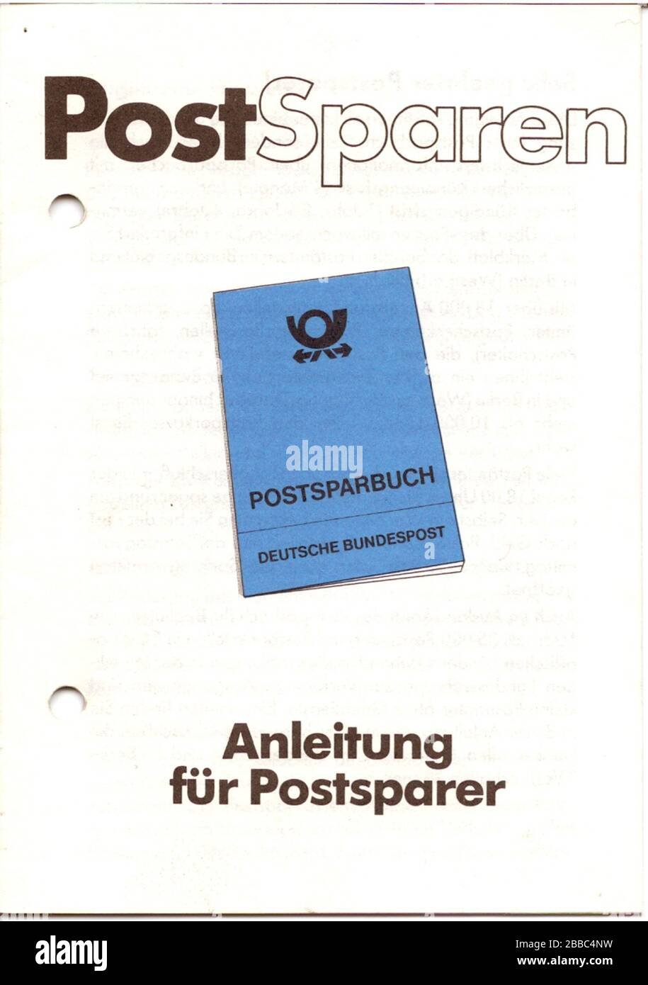 """""""Deutsch: PostSparen - Anleitung für Postsparer (Broschüre der Deutschen Bundespost, gedruckt im Mai 1982, ), enthält Benutzungshinweise, die Postsparkassenordnung vom 1. Dezember 1969 und einen Auszug aus dem Gesetz über das Postwesen vom 28. Juli 1969. Auf dem letzten Blatt befindet sich das Emblem der Bundesdruckerei und folgende Angaben 5.82 — 6 926 2000 000 A 6/8, Kl.68 m. Das Impressum fehlt. Seite 10 enthält den Text Ihre Deutsche Bundespost. Die 16seitige Broschüre erhielt ich Mitte der 1980er Jahre von einem Postamt.; 22 March 2009; Own work; User:Mattes; """" Stock Photo"""