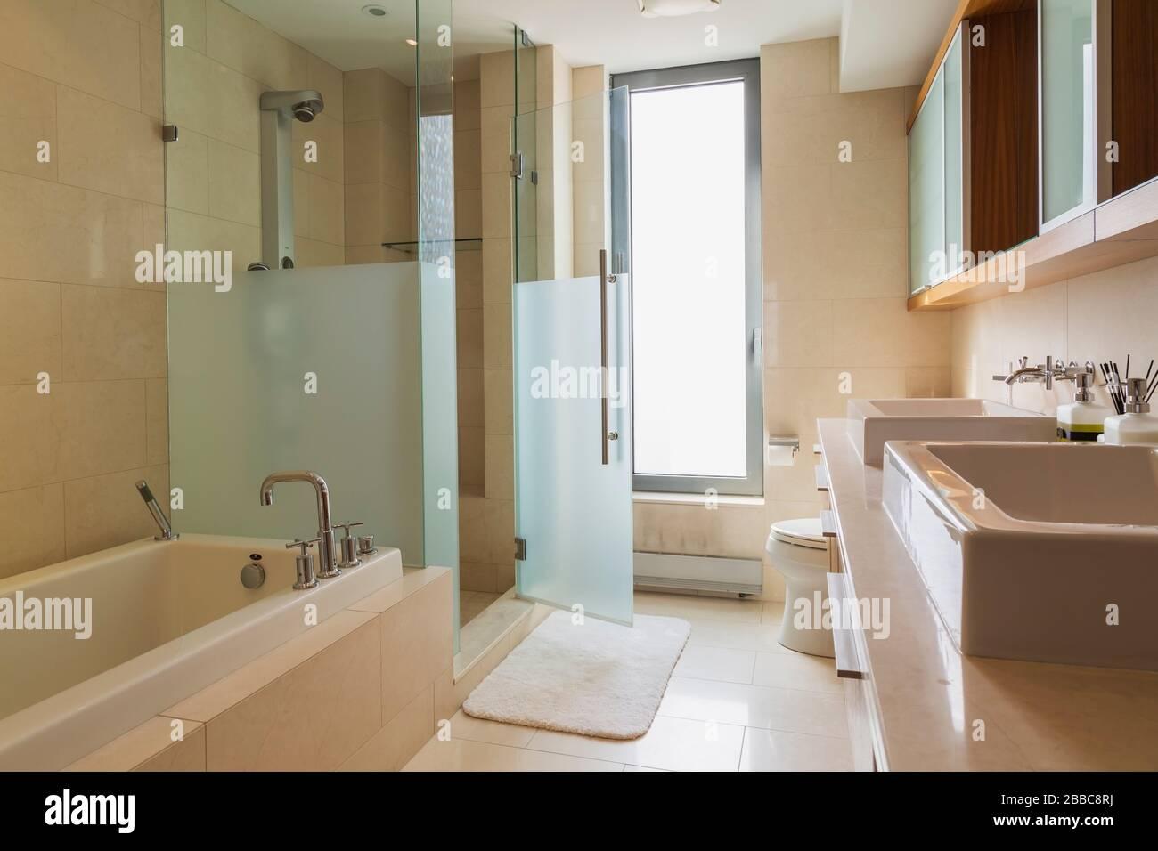 A Bathroom Or Washroom Inside A New Condominium In Downtown Toronto Ontario Canada Stock Photo Alamy