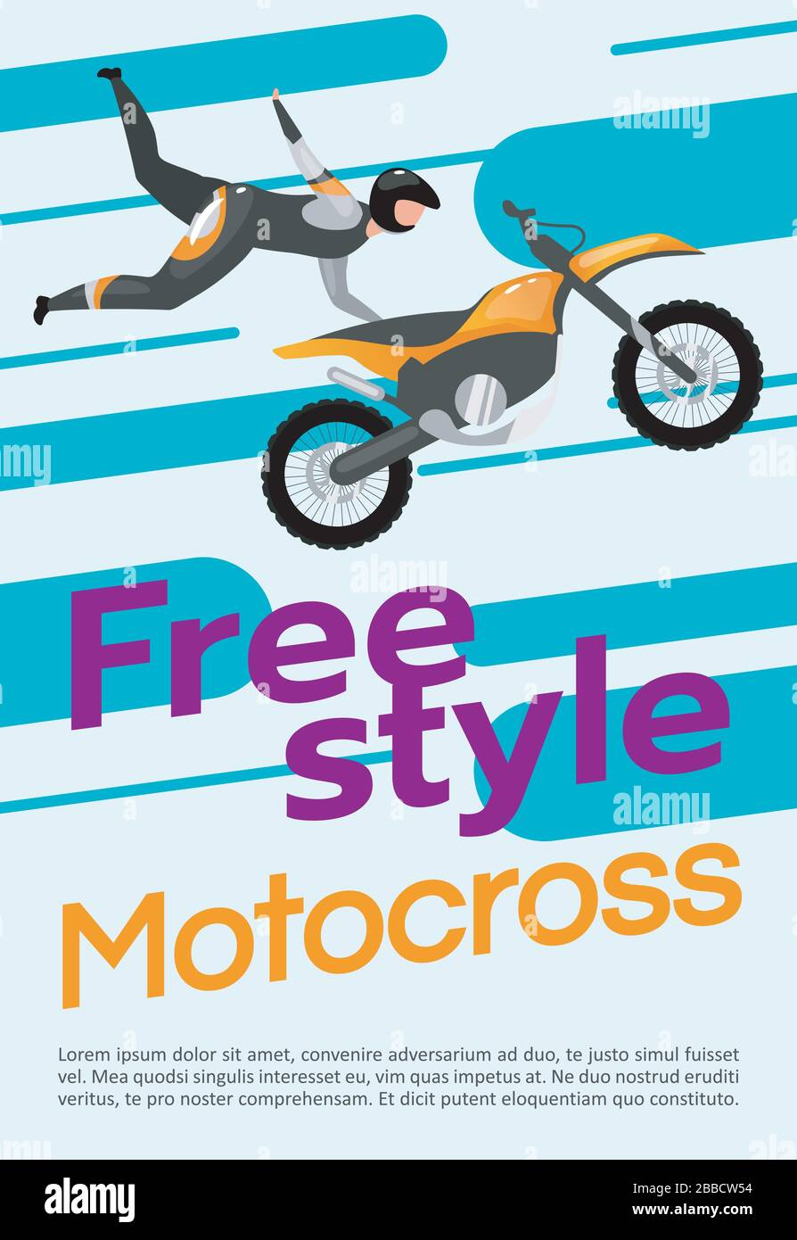 Freestyle Motocross Poster Vector Template Stock Vector Image Art Alamy