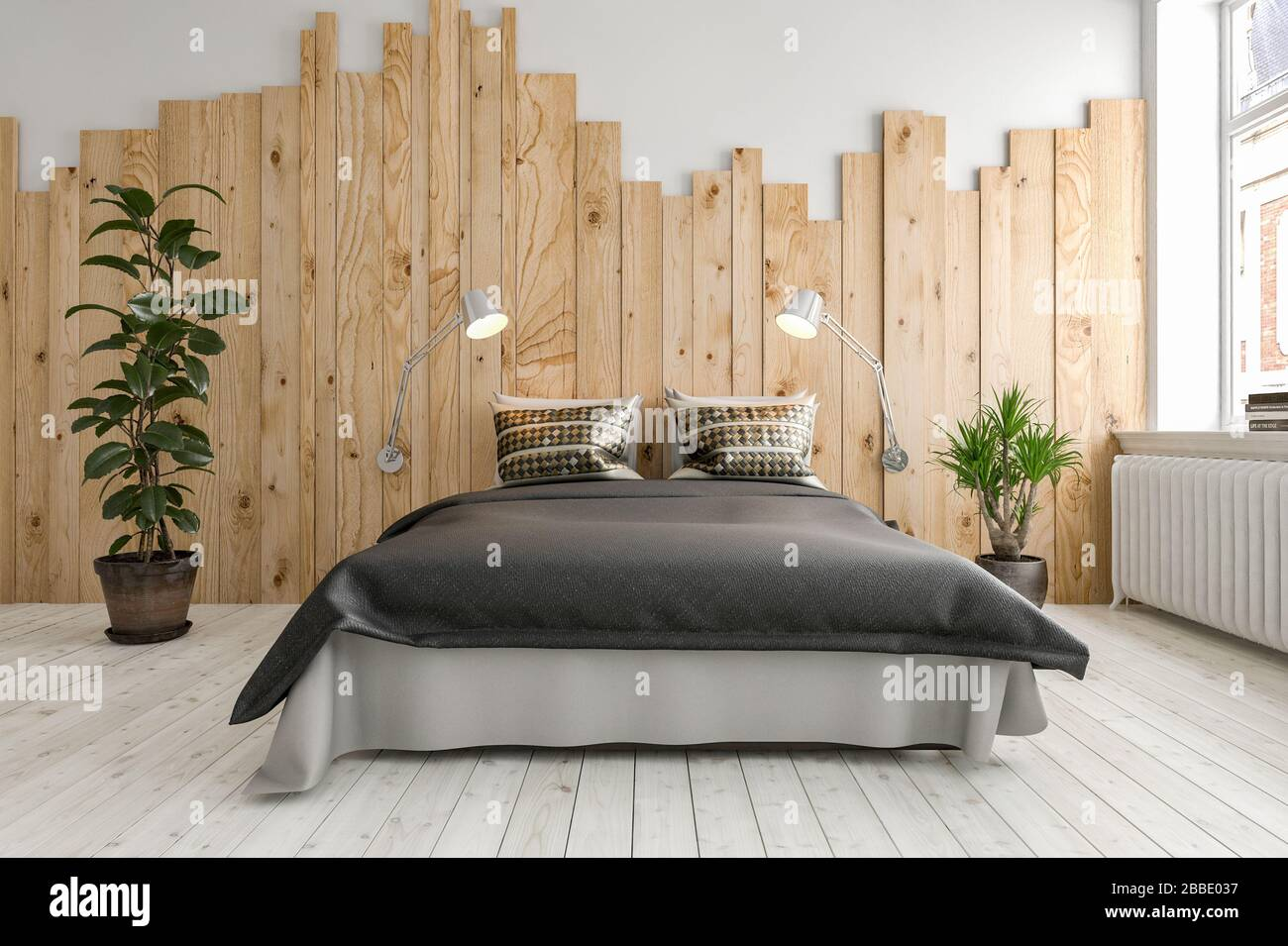 Modern Neat Minimalist Bedroom Interior With Double Divan Style Bed Over A Painted White Wood Floor Flanked By Potted Plants Against A Wall With Featu Stock Photo Alamy