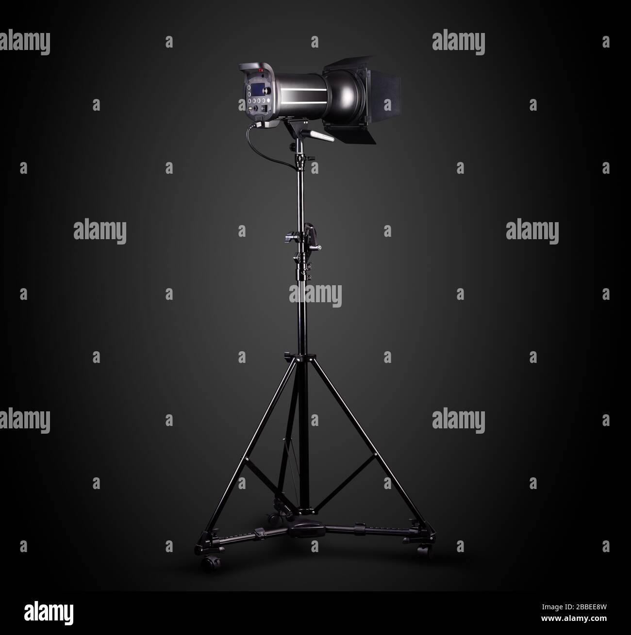 Photography Studio Flash On A Lighting Stand Isolated On Black Background With Lamp Proffetional Equipment Like Monobloc Or Monolight Stock Photo Alamy