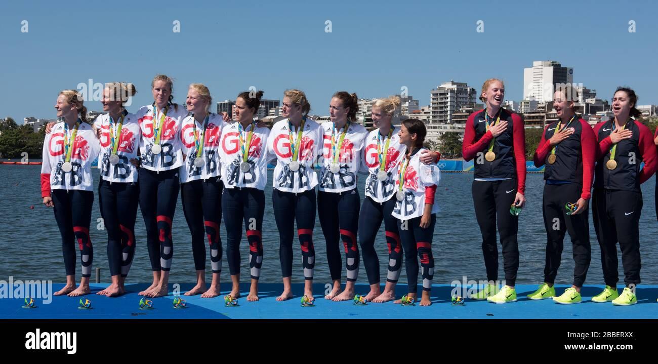 "Rio de Janeiro. BRAZIL   Women's Eights Final. Silver Medalist GBR W8+. Bow. Katie GREVES, Melanie  WILSON, Frances HOUGHTON, Polly  SWANN,  Jessica EDDIE,  Olivia CARNEGIE-BROWN, Karen BENNETT, Zoe LEE and  Zoe DE TOLEDO, 2016 Olympic Rowing Regatta. Lagoa Stadium, Copacabana,  ""Olympic Summer Games"" Rodrigo de Freitas Lagoon, Lagoa. Local Time 11:52:06  Saturday  13/08/2016 [Mandatory Credit; Peter SPURRIER/Intersport Images] Stock Photo"