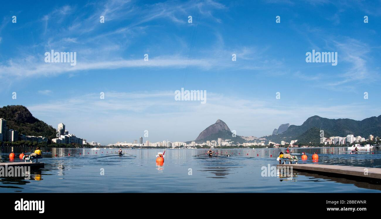 Rio de Janeiro. BRAZIL.   NZL M1X, Mahe DRYSDALE at the start for his heat.2016 Olympic Rowing Regatta. Lagoa Stadium, Copacabana,  ÒOlympic Summer GamesÓ Rodrigo de Freitas Lagoon, Lagoa.    Saturday  06 August , 2016   [Mandatory Credit; Peter SPURRIER/Intersport Images] Stock Photo