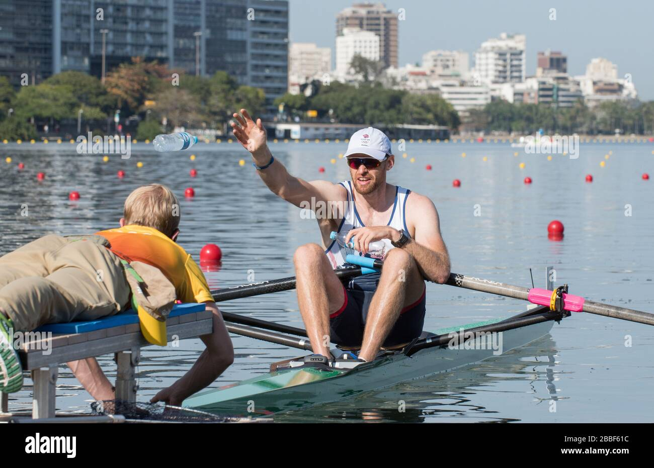 Rio de Janeiro. BRAZIL.   2016 GBR M1X. Alan CAMPBELL, before  the start of his heat at the Olympic Rowing Regatta. Lagoa Stadium, Copacabana,  ÒOlympic Summer GamesÓ Rodrigo de Freitas Lagoon, Lagoa. Saturday  06 August , 2016   [Mandatory Credit; Peter SPURRIER/Intersport Images] Stock Photo
