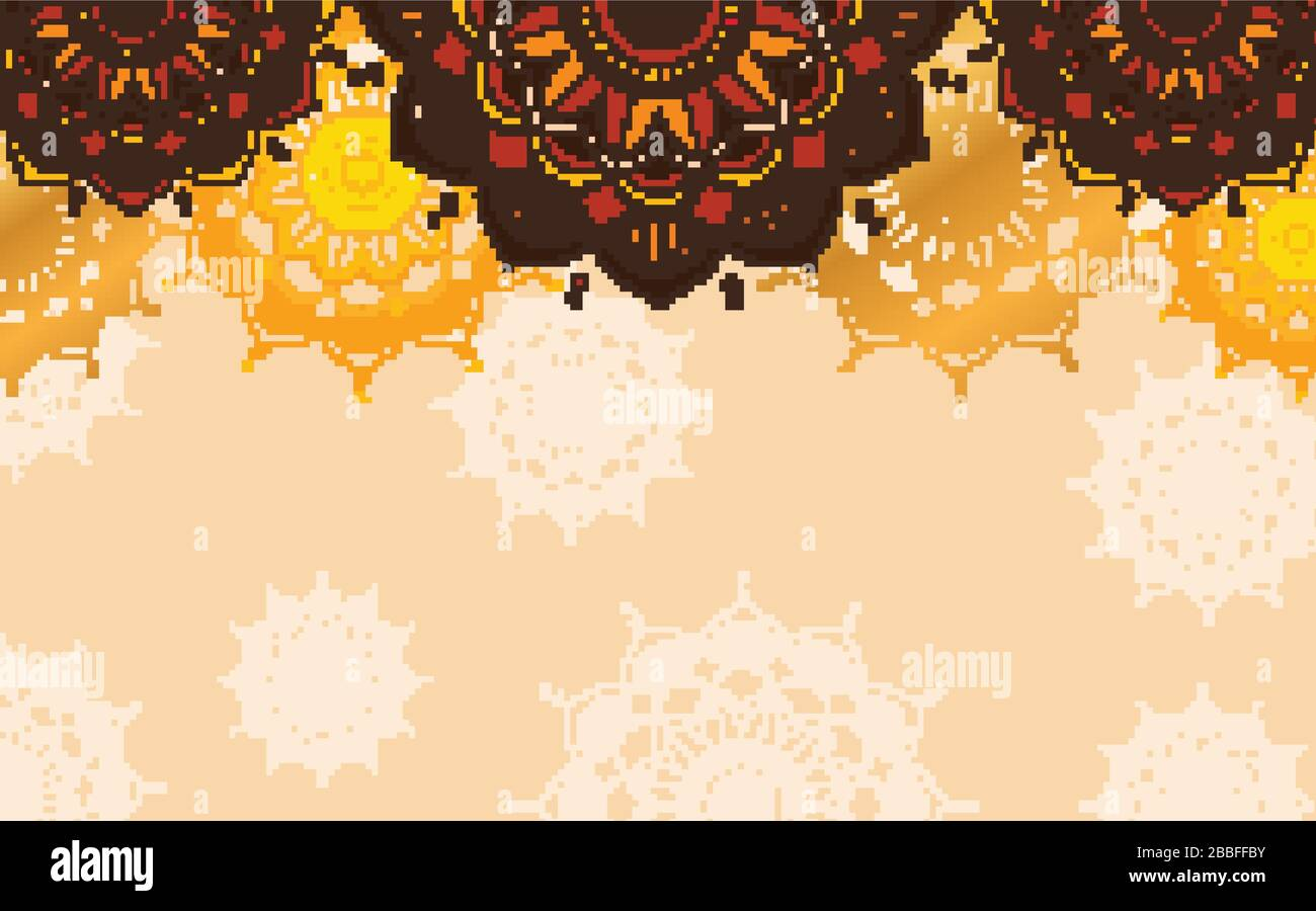 Background design with mandala patterns in brown color illustration Stock Vector