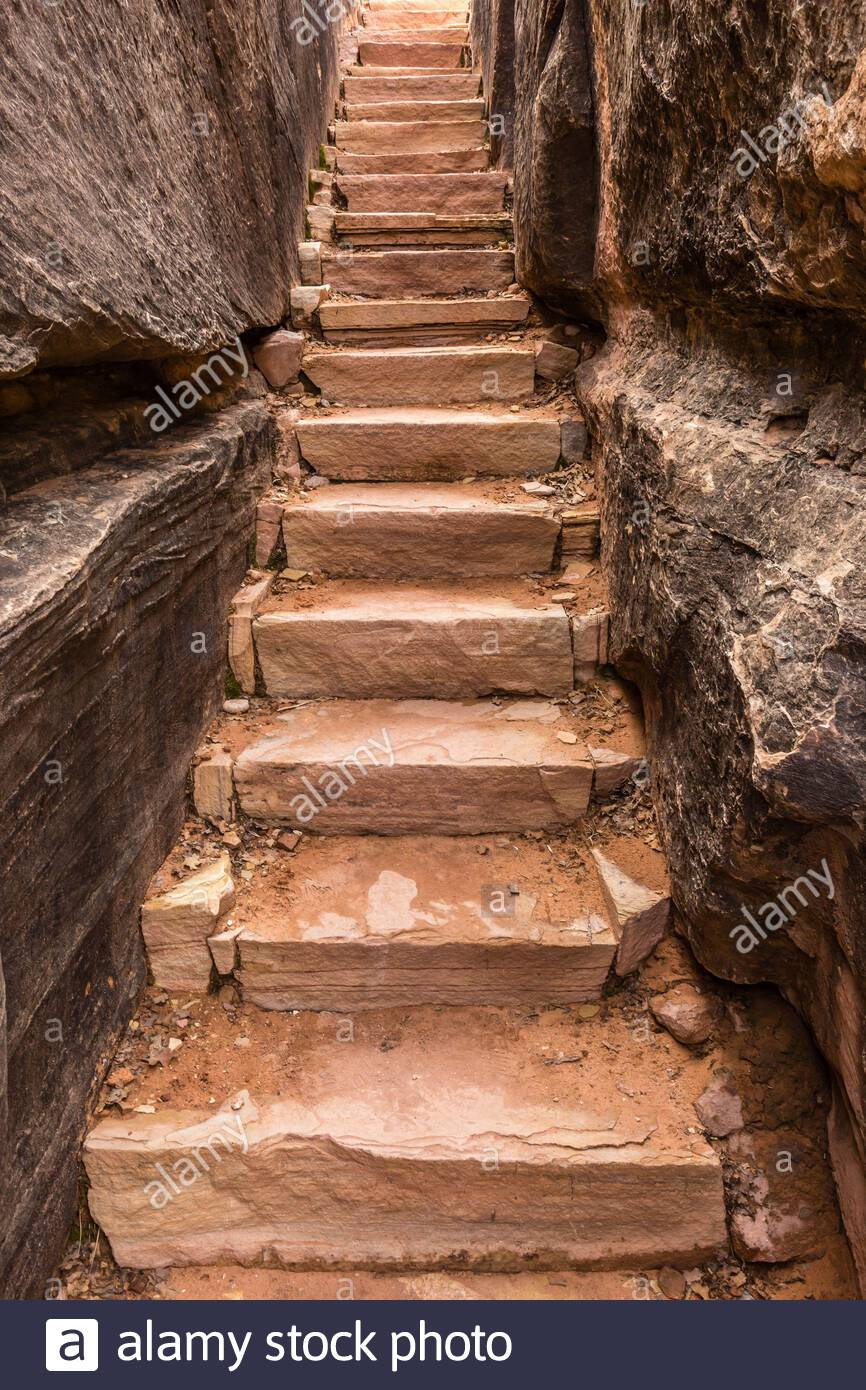 stairs at the elephant hill trail head, canyonlands np, utah Stock Photo