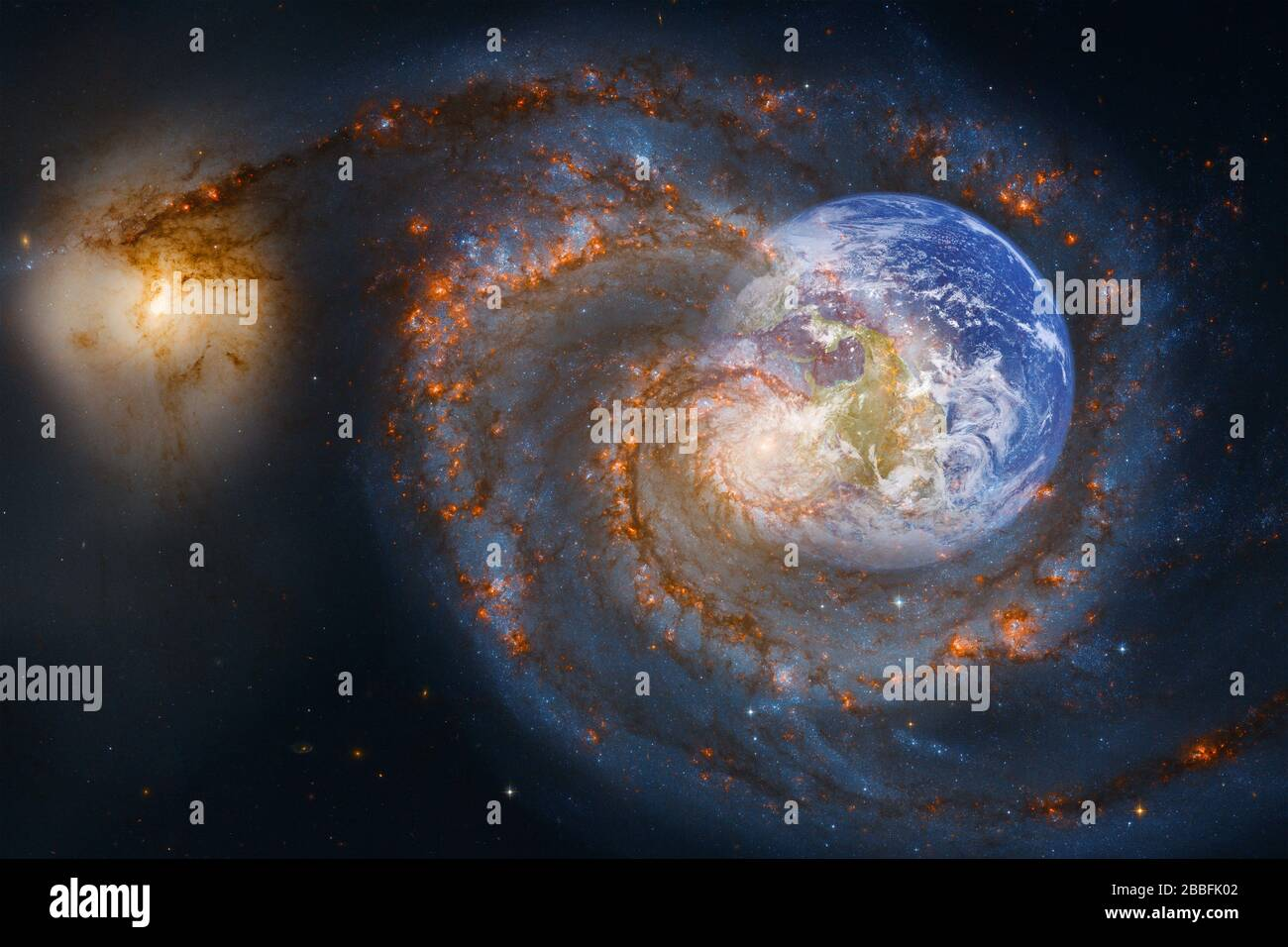 earth and galaxy awesome science fiction wallpaper elements of this image furnished by nasa 2BBFK02
