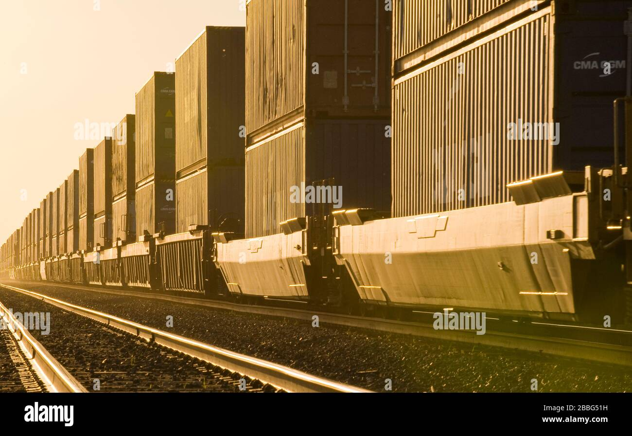 shipping containers on rail cars , near Winnipeg, Manitoba, Canada Stock Photo