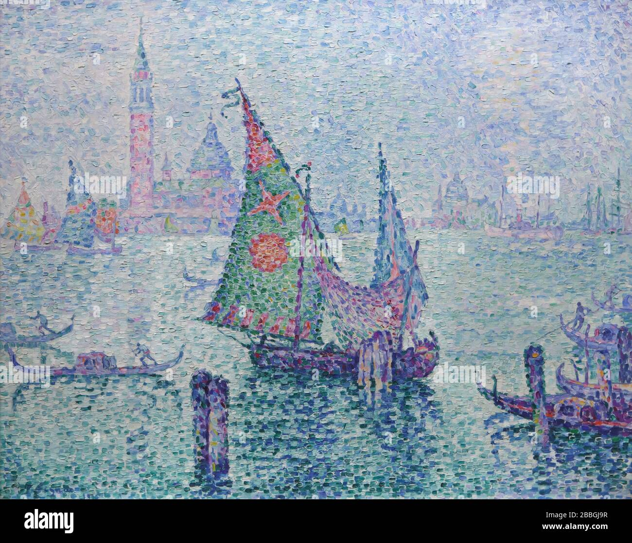 Painting 'The Green Sail' ('La Voile verte') by French Neo-Impressionist painter Paul Signac (1899) on display in the Musée d'Orsay in Paris, France. Stock Photo