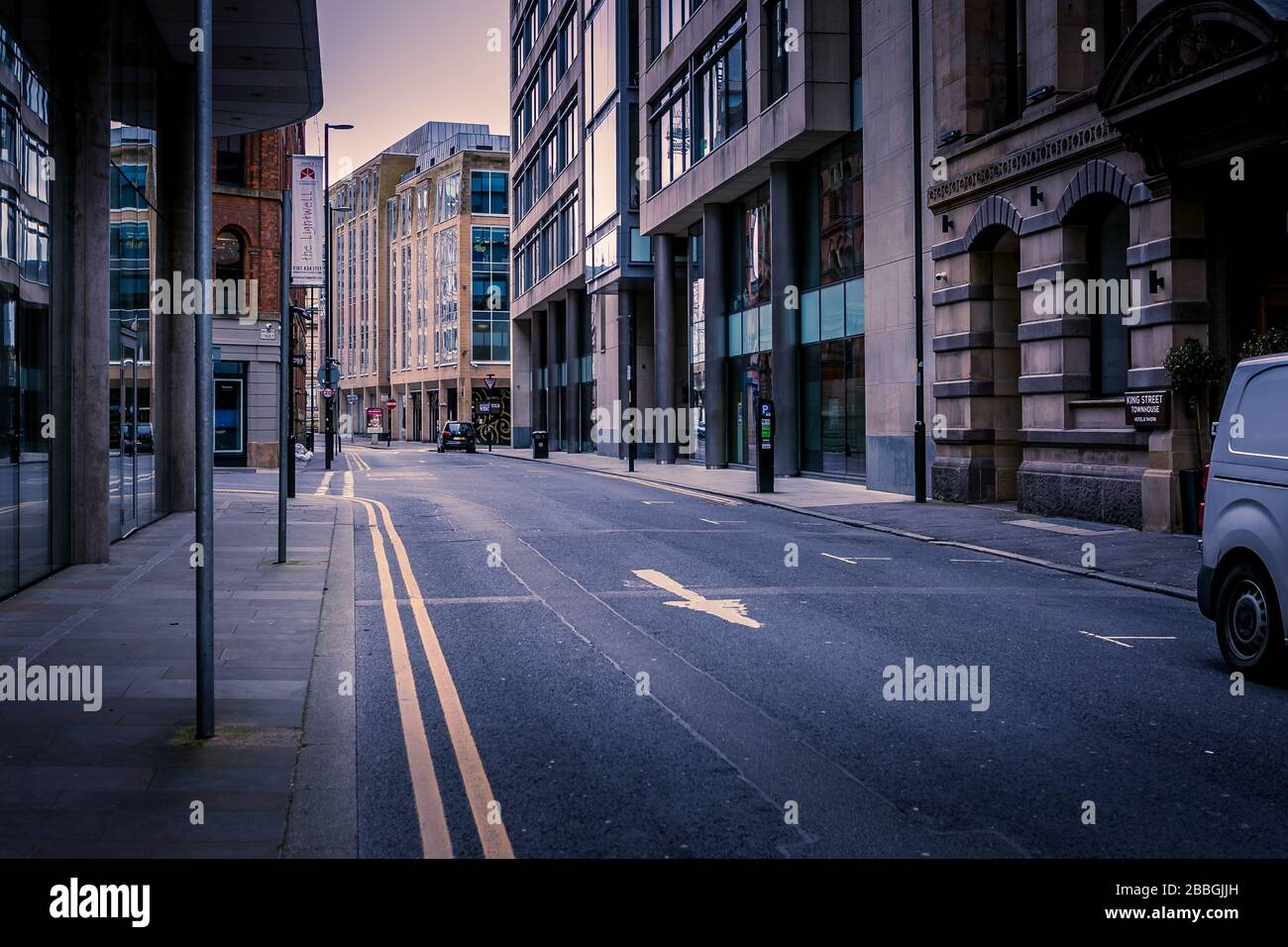 Booth Street, Manchester, United Kingdom. Empty streets during Coronavirus outbreak, March 2020. Stock Photo