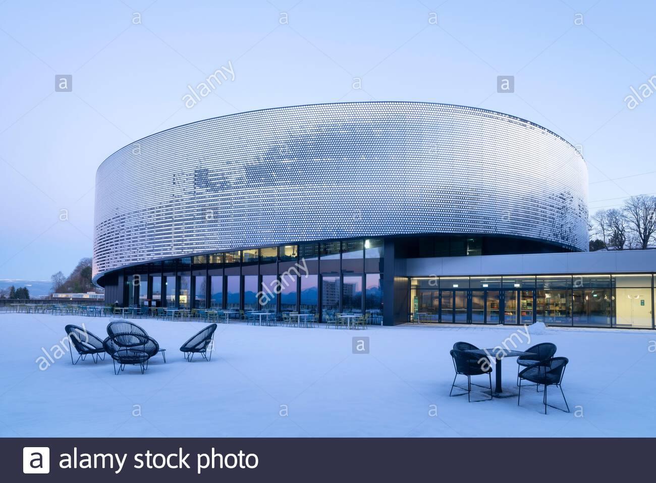 Aquatis (Lausanne, Switzerland) under snow in winter. Aquatis is the largest fresh water aquarium in Europe Stock Photo