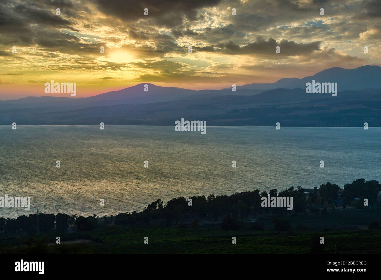 Sunset over the Sea of Galilee from the Golan Heights, Israel, Middle East. Stock Photo