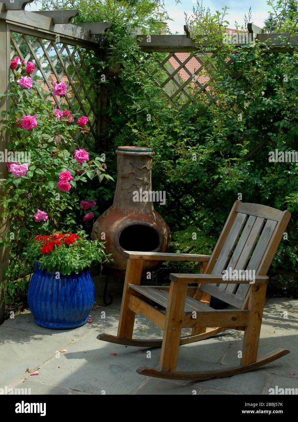Picture of: Patio Corner With Wooden Rocker Enclosed With A Wooden Pergola And Trellis Adorned With Roses Including The Thornless Pink Rose Rosa Zephirin Droui Stock Photo Alamy