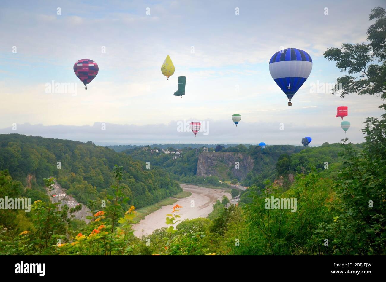 Bristol ballon festival 2019 - hot air balloons landing after flight. - clifton Stock Photo