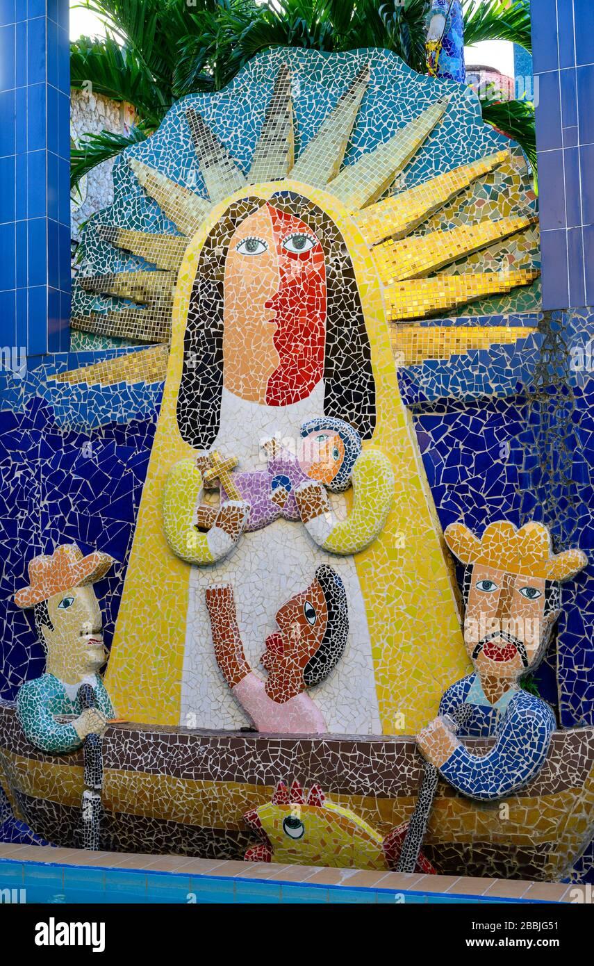 Fusterlandia, public-art installations by local artist José Fuster, with colorful, whimsical mosaics, Playa de Jaimanitas,   Havana, Cuba Stock Photo