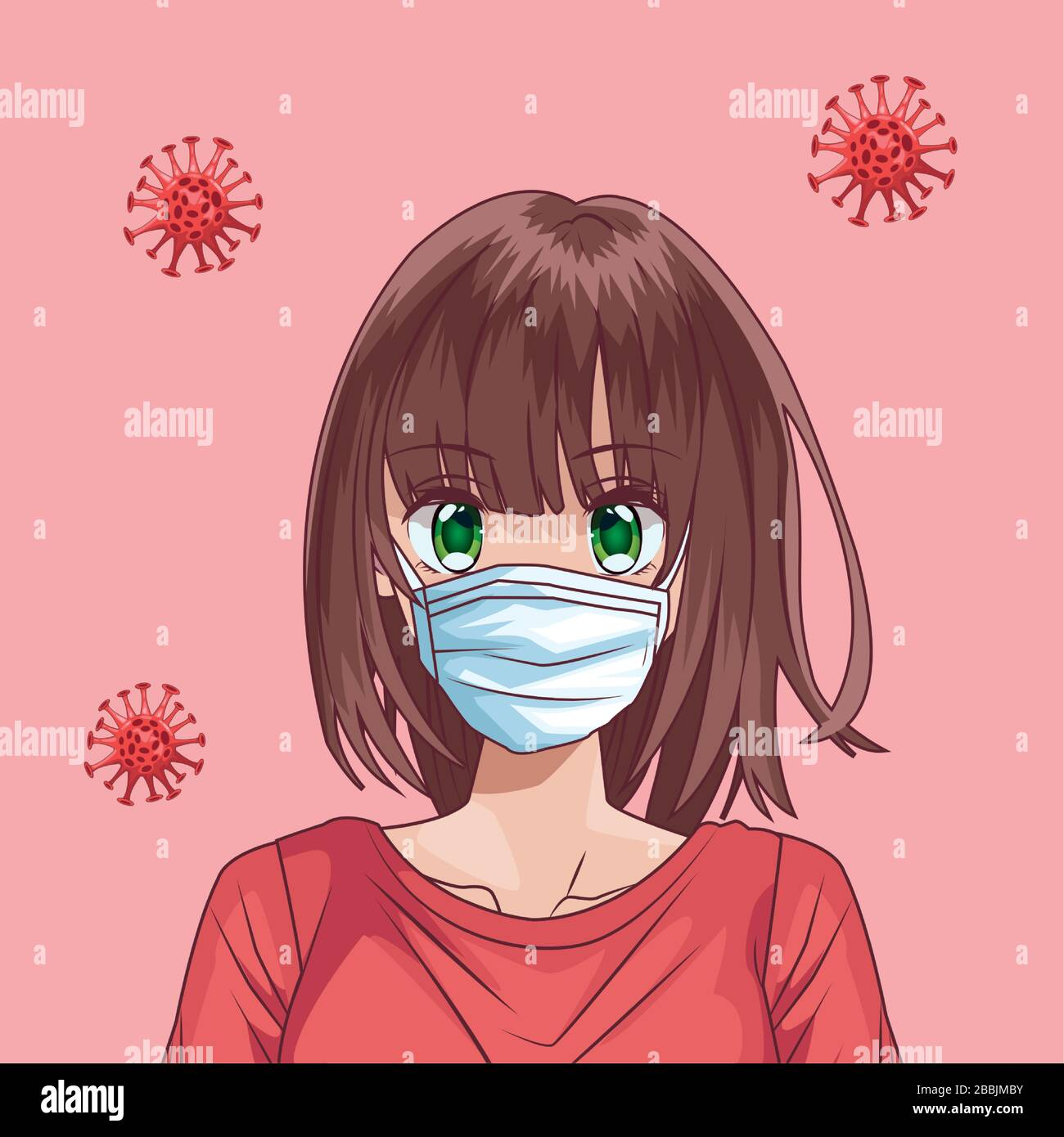 beautiful woman with face mask and covid10 particles anime style