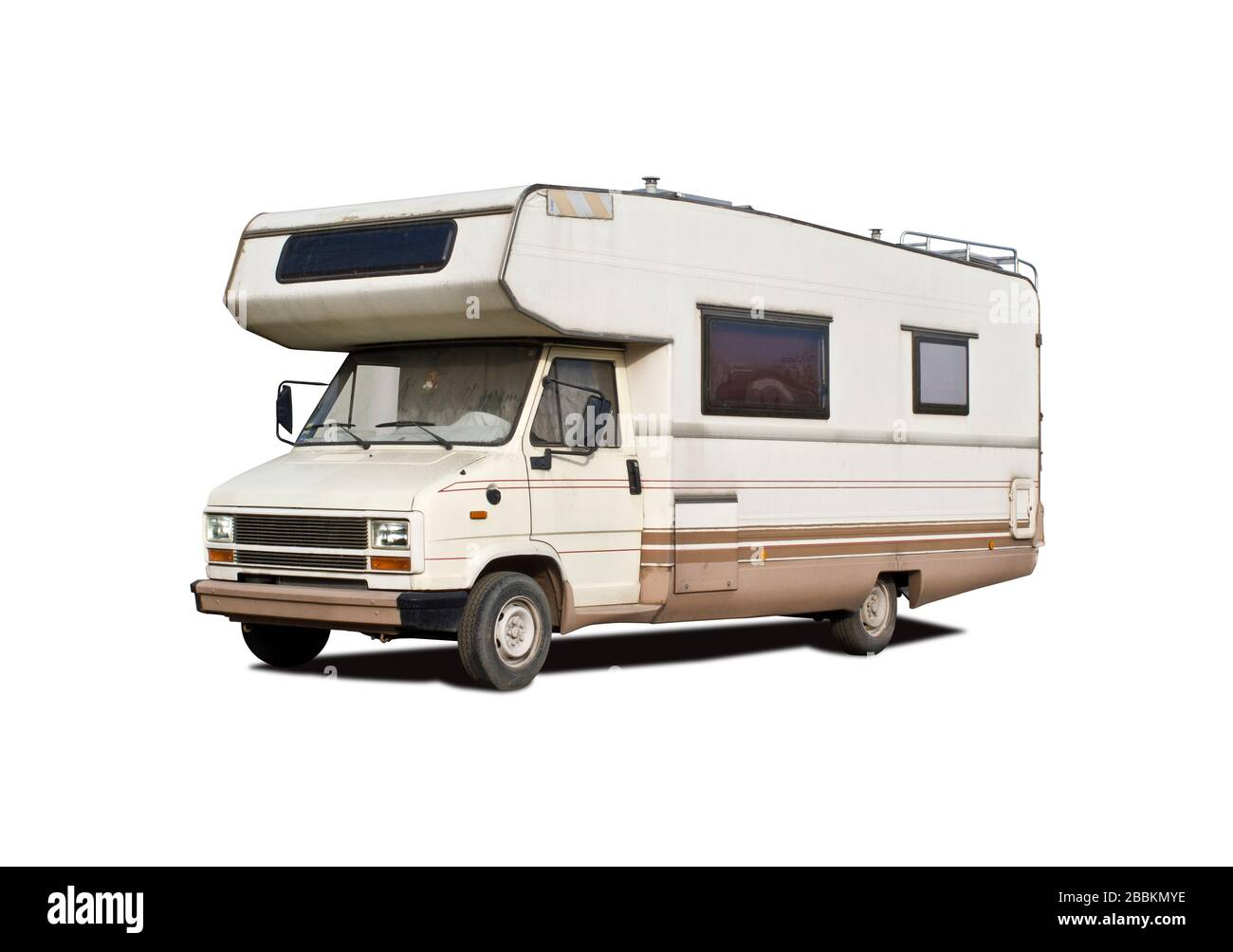 Old Motorhome Side View Isolated On White Stock Photo Alamy