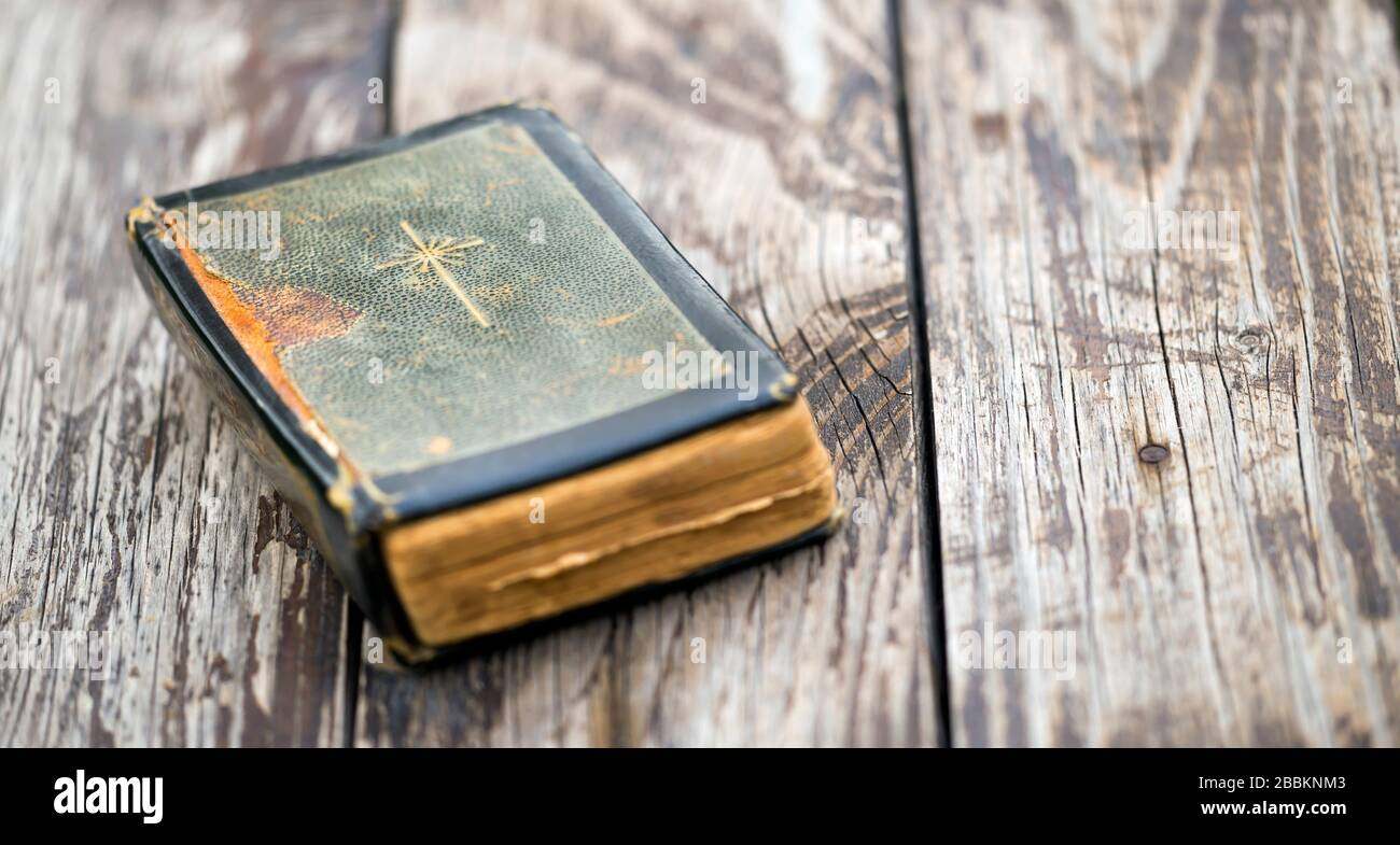 Old Vintage Holy Bible Prayer Book Faith Concept Web Banner With Copy Space Stock Photo Alamy