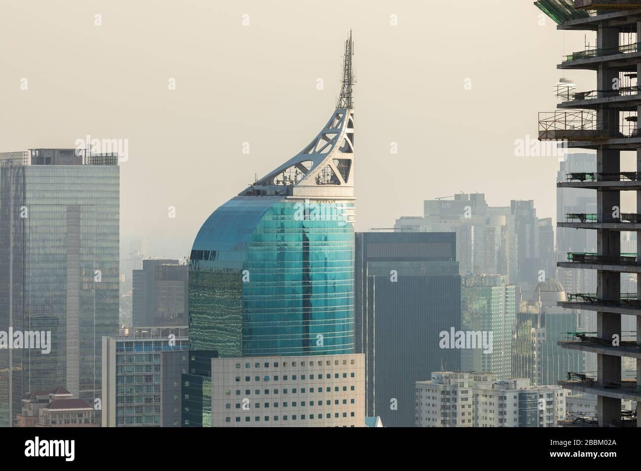 Jakarta, Indonesia - October 20, 2019: Close up of the skyline of the city of Jakarta, the capital of Indonesia, Java island, under construction. Stock Photo