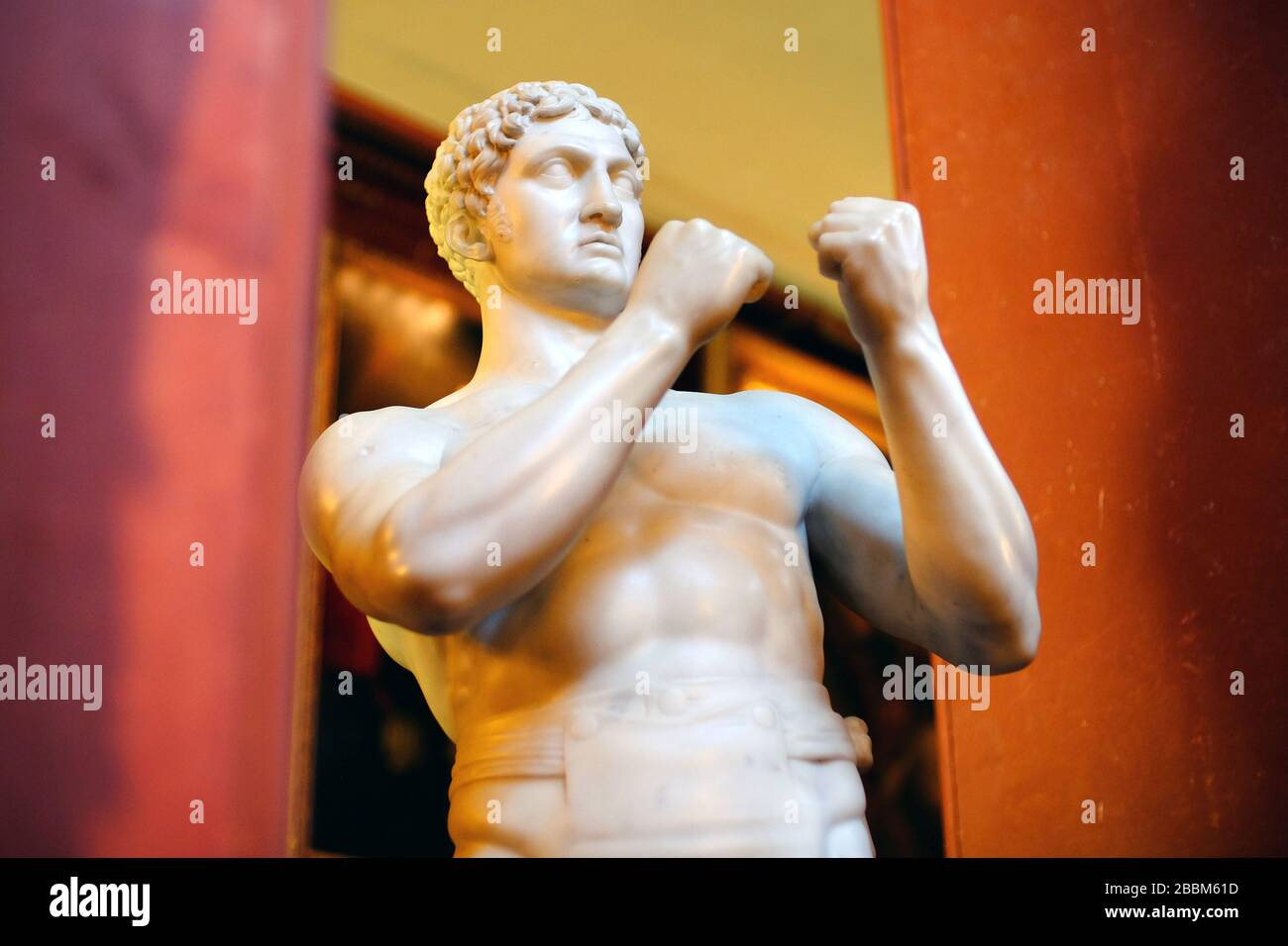 Marble sculpture of a British boxer, or pugilist, in classical pose Stock Photo