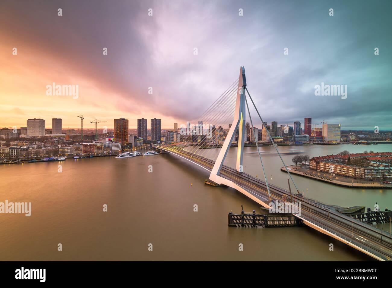 Rotterdam, Netherlands, city skyline at twilight. Stock Photo