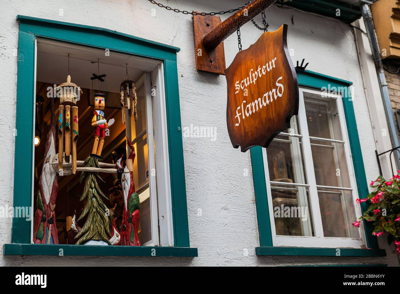 View from the Petit Champlain on the Sculpter Flamand Shop in Old-Quebec. Stock Photo
