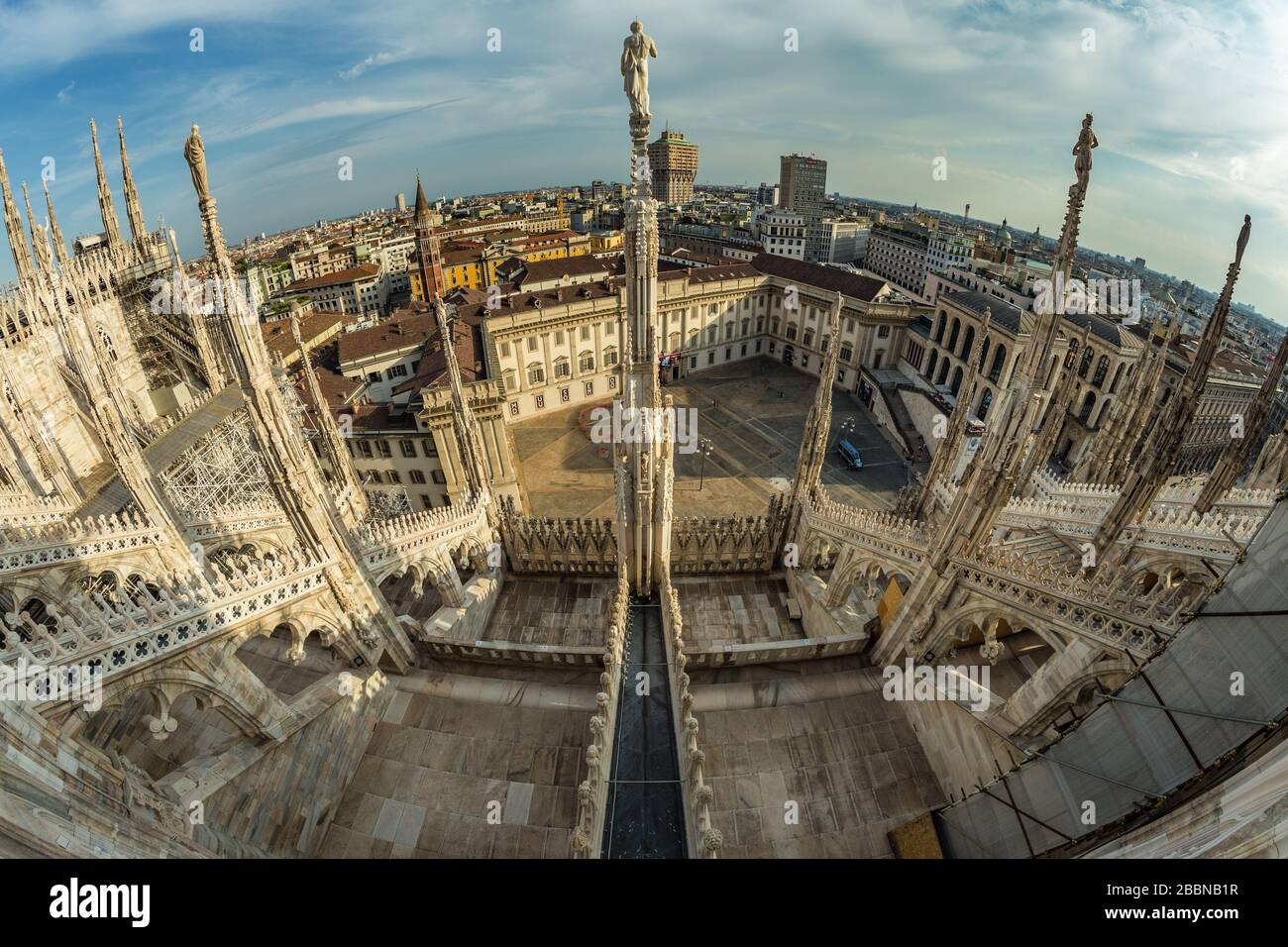 Milan Italy Aug 1 2019 Aerial View From The Roof Of Milan Cathedral Duomo Di Milano Lombardy Italy Fish Eye Lens Shot Stock Photo Alamy