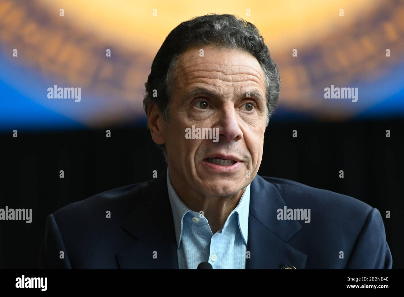 Andrew Cuomo holds a briefing on the COVID-19 response on March 30, 2020.at the Jacob K. Javits Convention Center in New York. Stock Photo