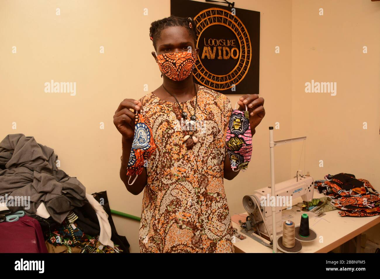 David Ochieng Founder Of Lookslike Avido Fashion Line Displays Some Of His Re Usable Face Masks