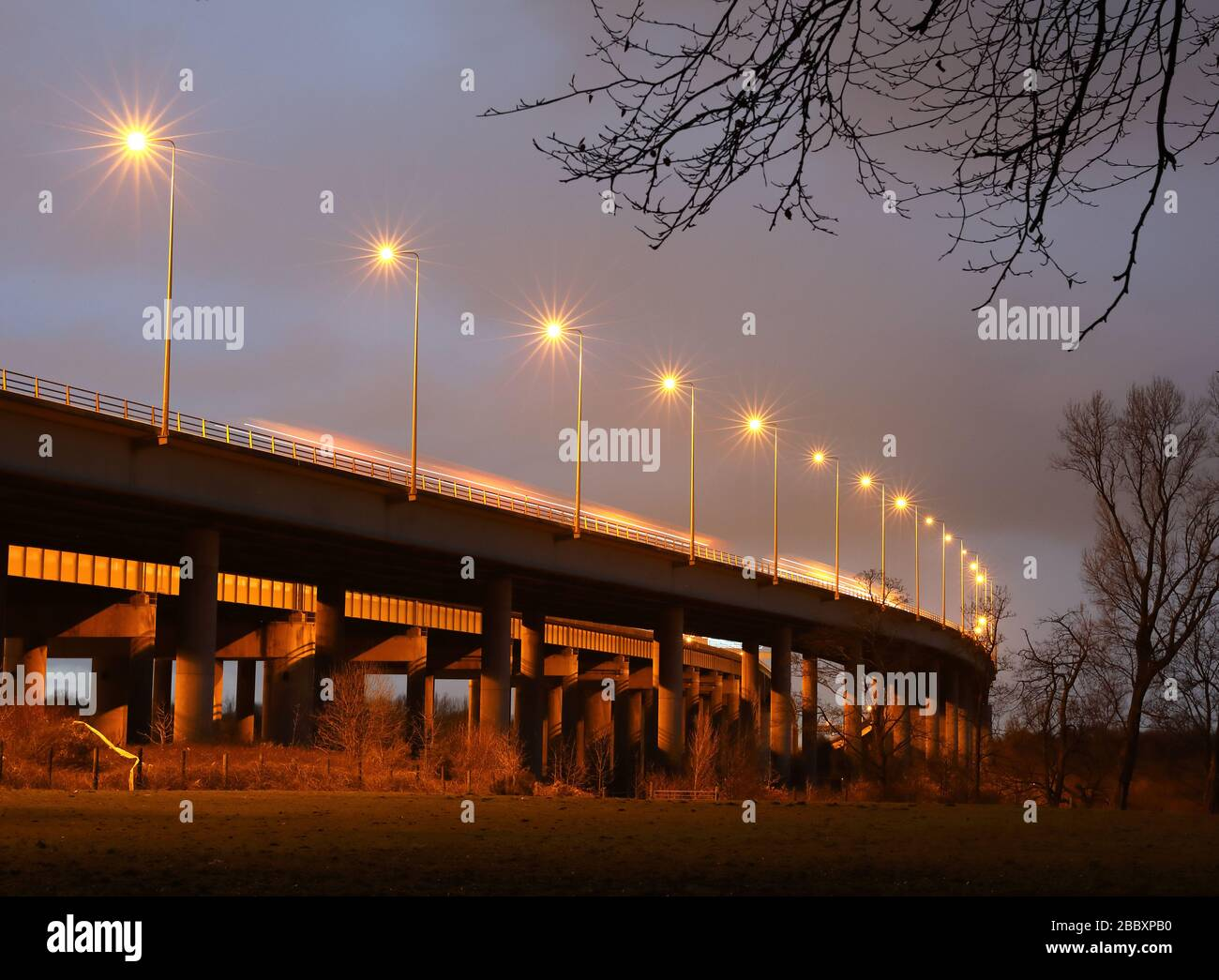 M6 Thelwall steel composite girder viaduct, Stock Photo