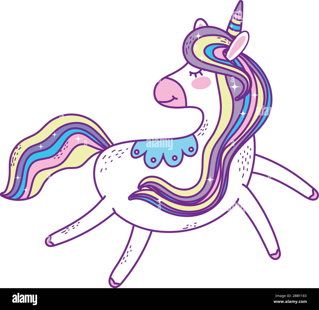 Unicorn Horse Cartoon Design Magic Fantasy Fairytale Childhood Animal Fairy Wild Cute And Lovely Theme Vector Illustration Stock Vector Image Art Alamy