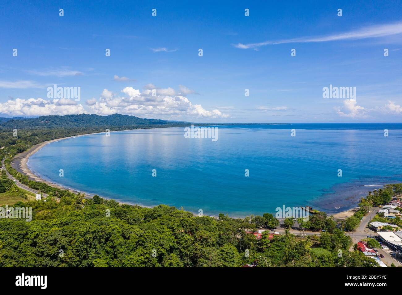 Aerial view facing Playa Negra and the southern coastal Caribbean town of Puerto Viejo de Talamanca in Limón Province, Costa Rica. Stock Photo