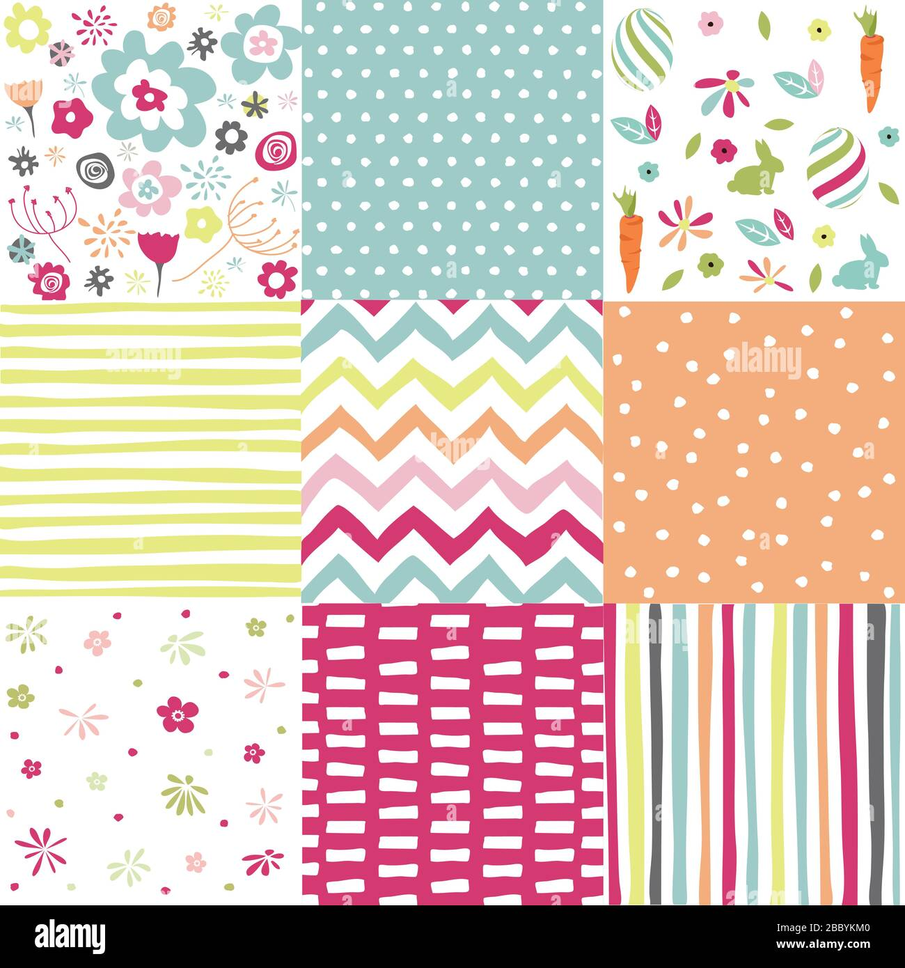 Spring, easter patterns. Vector seamless backgrounds. Stock Vector