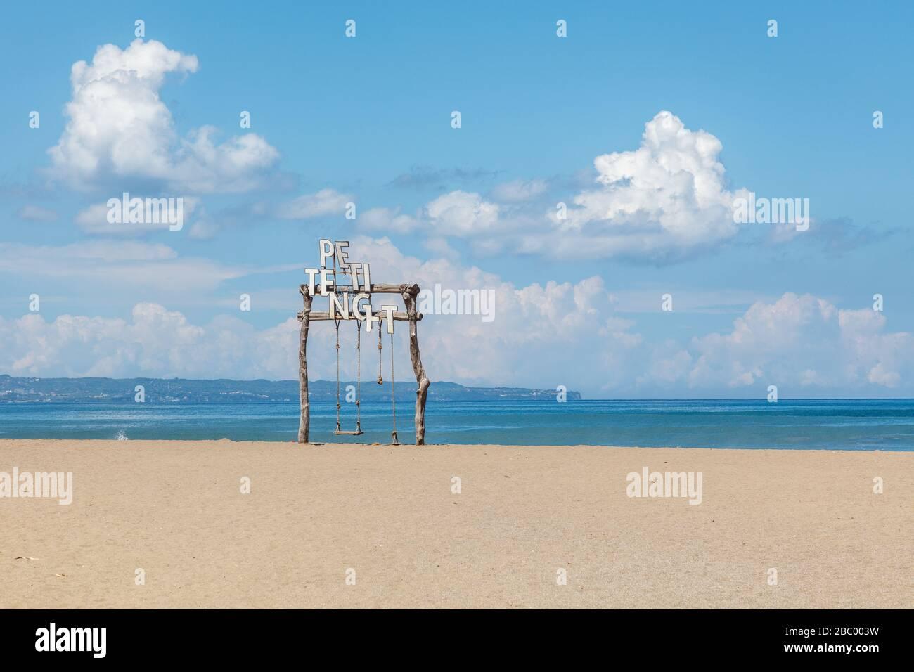 Absolutely empty Petitenget Beach (Pantai Petitenget) closed for