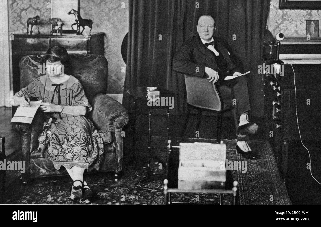 Churchill at his London home in Sussex Square dictating notes to secretary, Miss Fisher when standing as candidate for Abbey Division.1924 Election Stock Photo