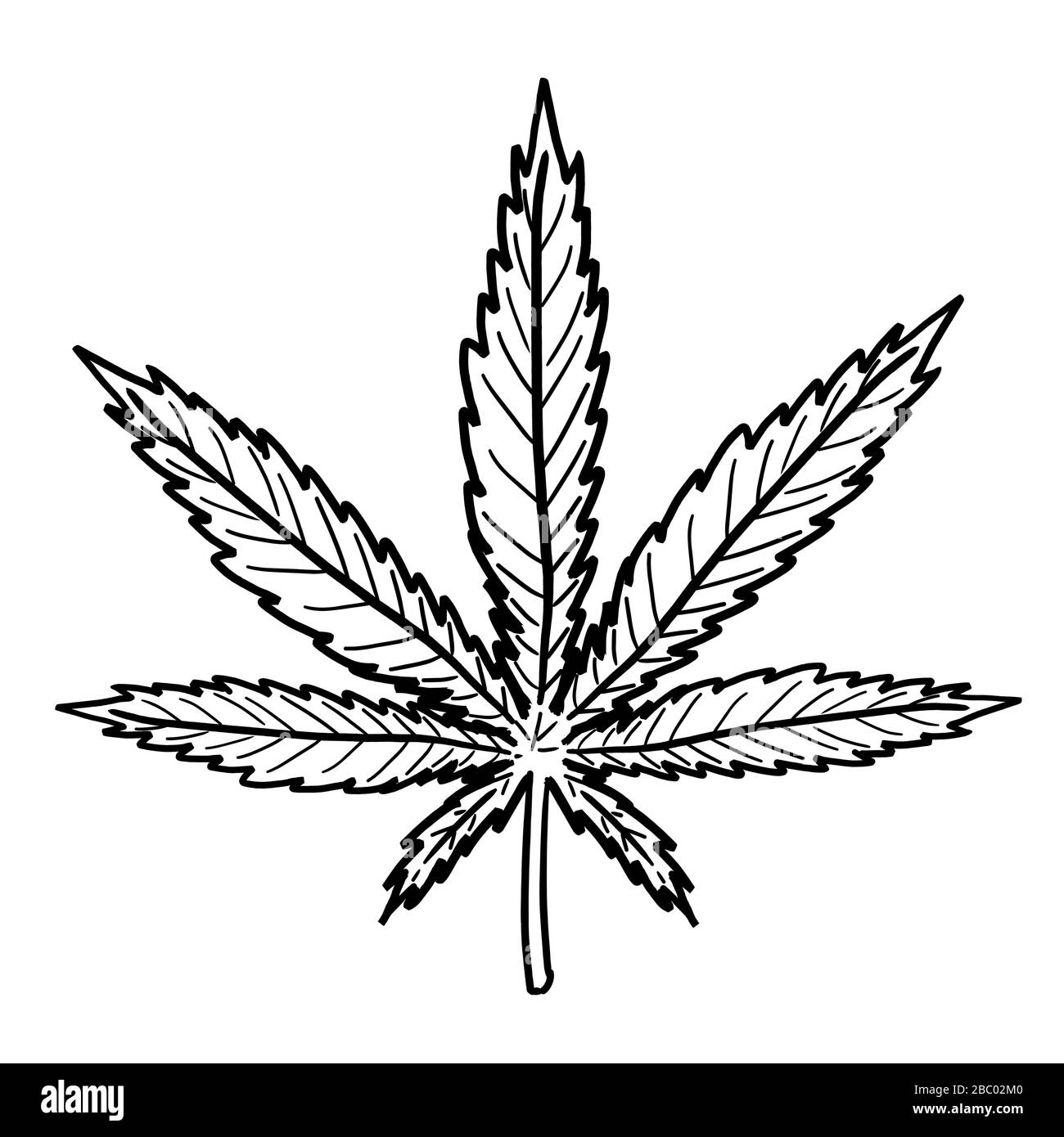 Marijuana leaf drawing. Simple hemp symbol vector. Stock Vector