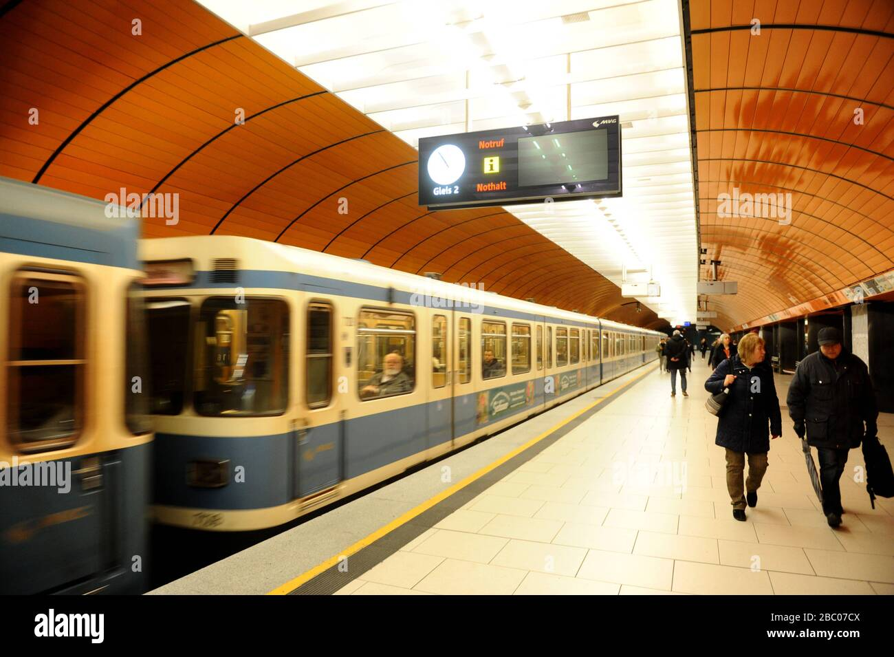 Effects of the corona virus: the tunnels and corridors of the Munich subway are almost empty. [automated translation] Stock Photo