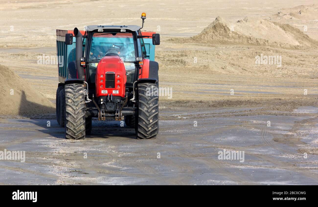 Work Vehicle On A Sandy Beach Stock Photo 351593356 Alamy