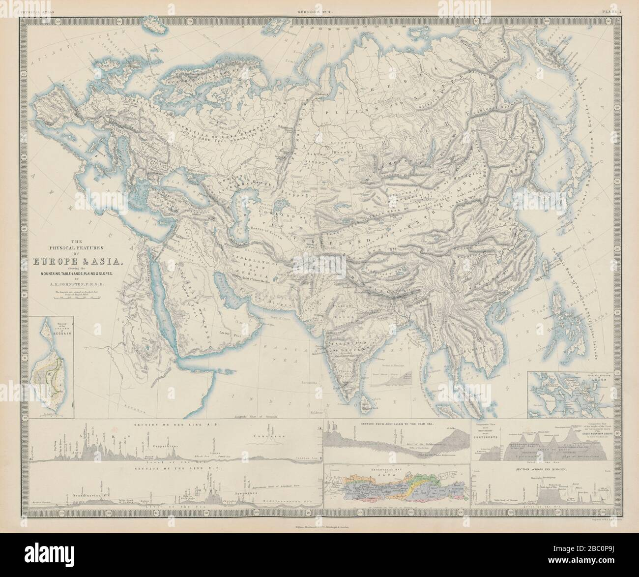 Image of: The Physical Features Of Europe And Asia Mountains Rivers Sections 1856 Map Stock Photo Alamy