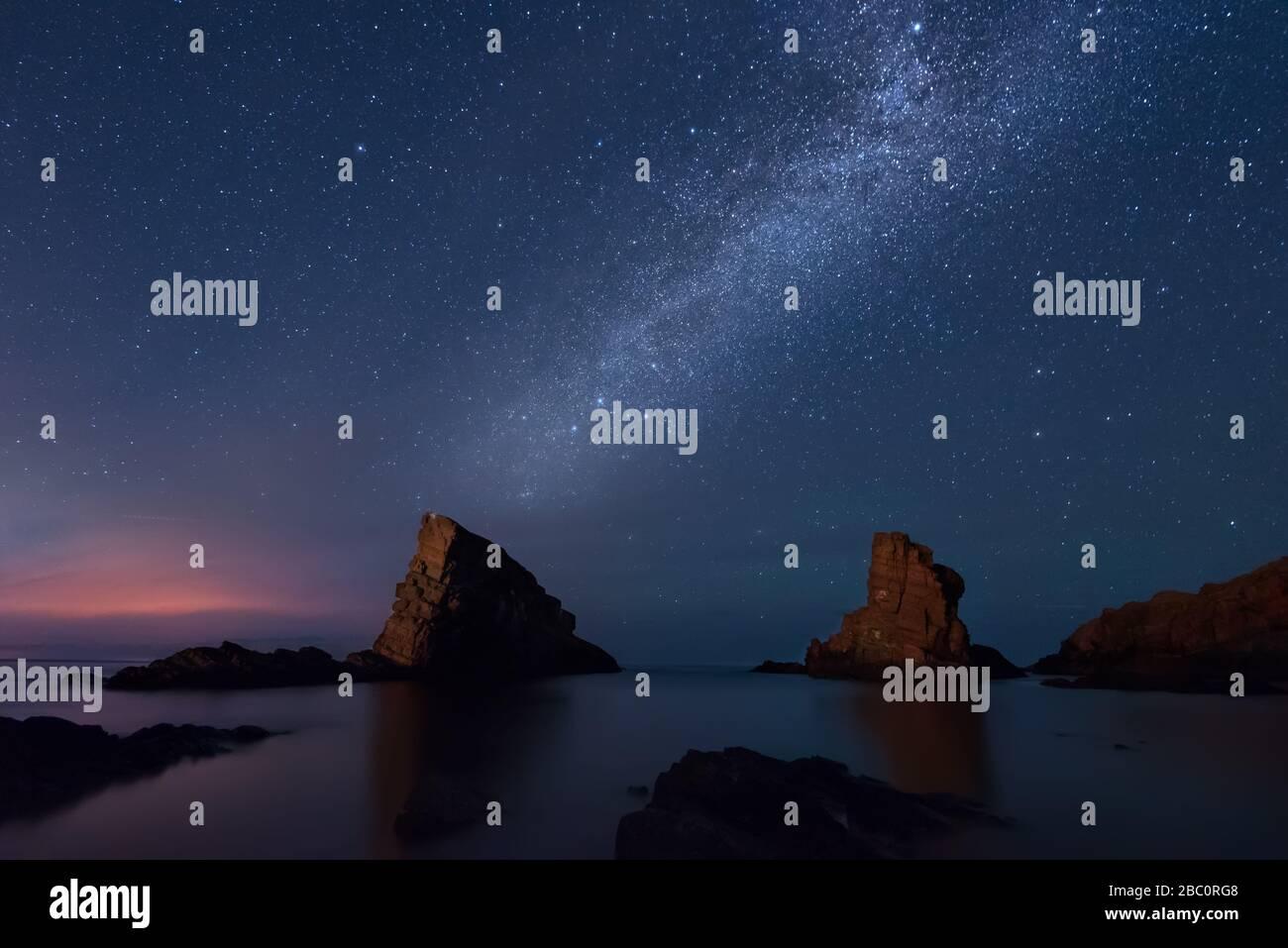 Milky way over the sea, Sinemorets, Bulgaria Stock Photo