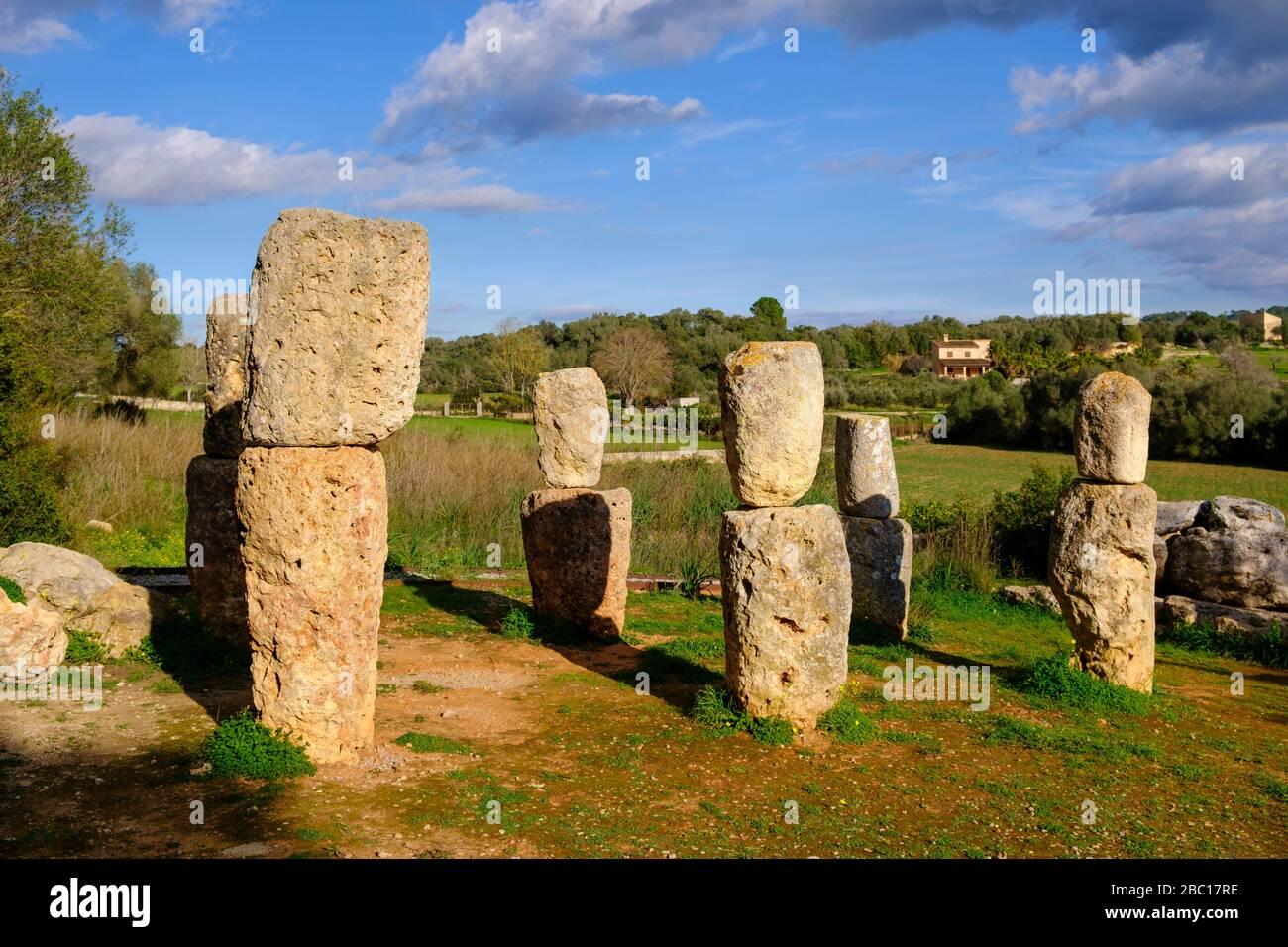 Santuari de Son Corro, Heiligtum der Talayot-Kultur, bei Costitx, Mallorca, Balearen, Spanien Stock Photo