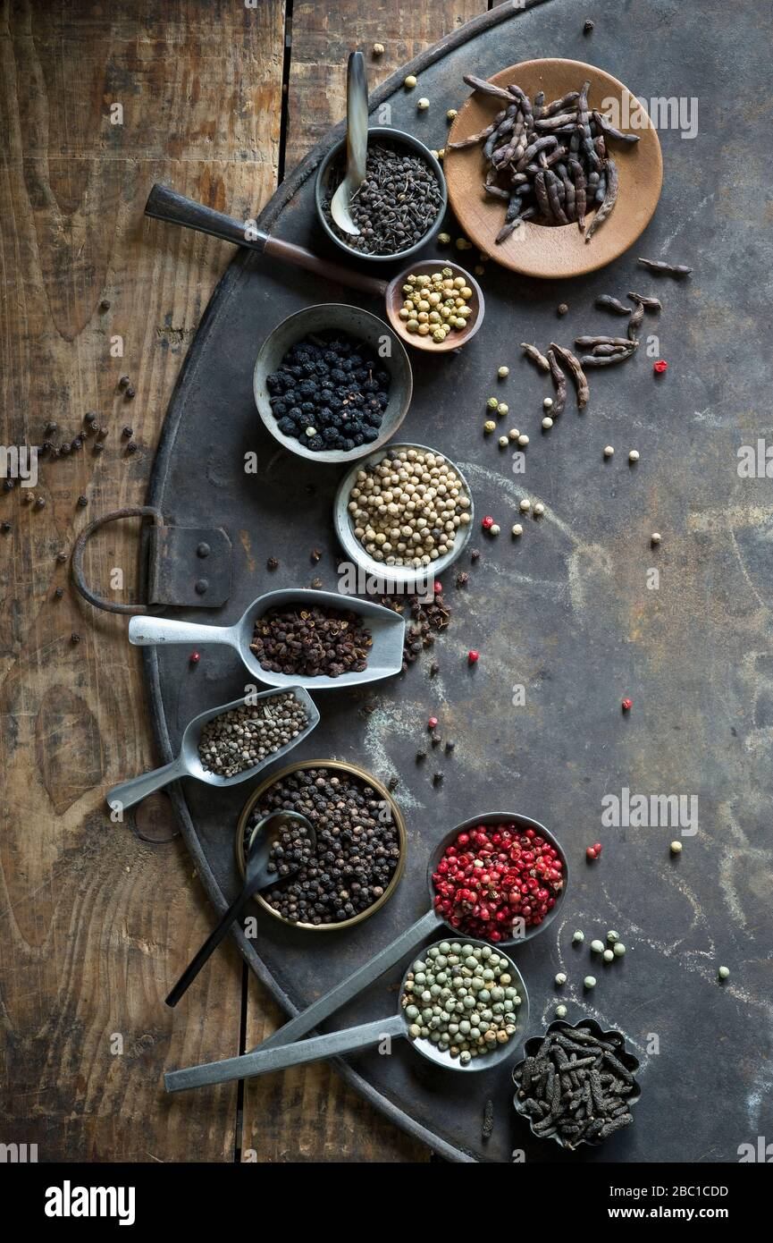 Bowls, ladles and scoops of various peppers Stock Photo